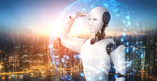 3d-darstellung roboter humanoid, der sich auf die skyline des stadtbildes freut