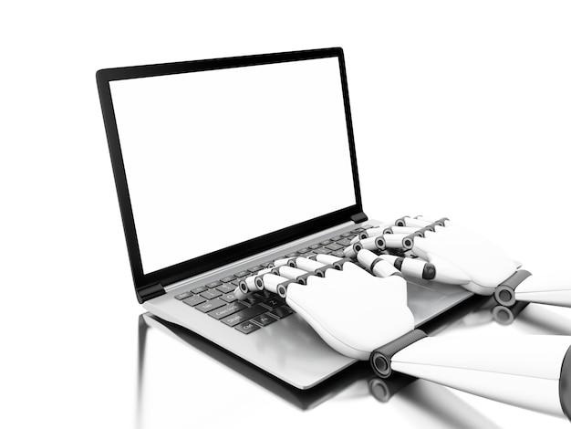 3d-darstellung. roboterhände, die auf einem laptop schreiben