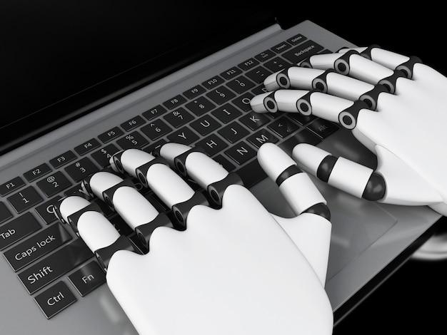 3d-darstellung. roboterhände, die auf einer notizbuchtastatur schreiben