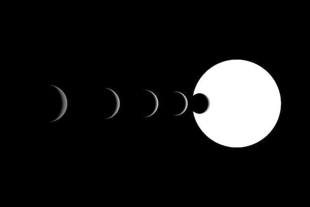 3d-darstellung schwarz-weiß-eklipse. dunkle planeten aufgereiht