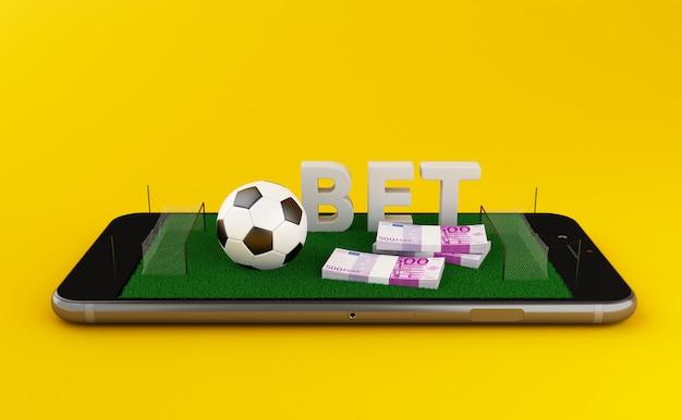 3d darstellung. smartphone mit fußballplatz auf gelbem hintergrund.