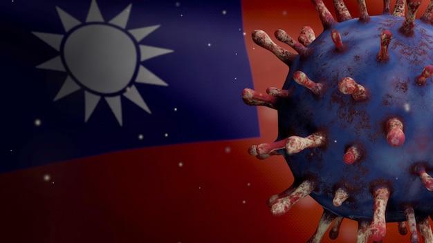 3d-darstellung taiwanesische flagge weht mit coronavirus-ausbruch, der die atemwege als gefährliche grippe infiziert. influenza-covid-19-virus mit nationalem taiwan-bannerhintergrund. pandemie-risikokonzept