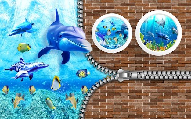 3d-darstellung tapete unter meer delphin fisch korallenriff mit mauerziegeln hintergrund open zip