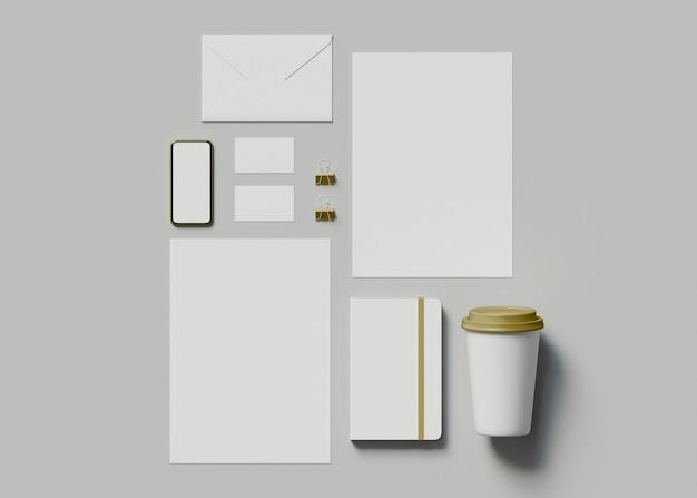 3d-darstellung. unternehmensidentität. stationäres branding-set-modell.