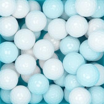 3d-darstellung viele blaue und weiße kugeln, ansicht von oben. viele polyedrische kugeln