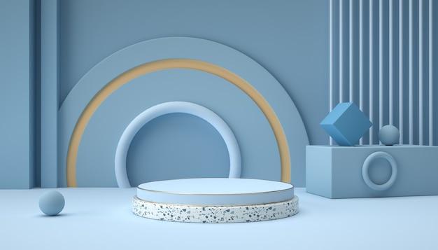 3d-darstellung von abstrakten hintergrundszenen und podium der geometrischen formen