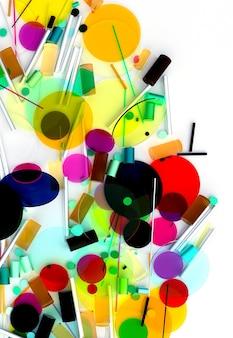 3d-darstellung von abstrakter kunst mit surrealer kreiskugel oder kugel basierend auf kleinen und großen geometriefiguren