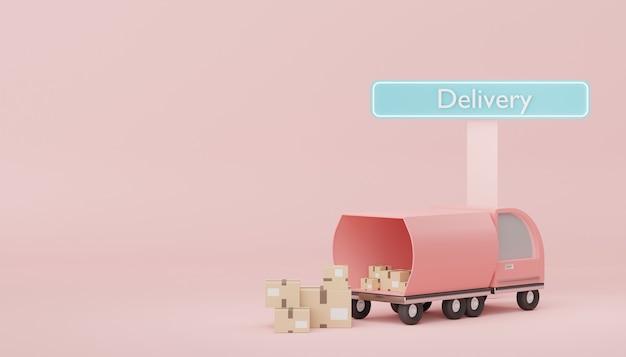 3d-darstellung von braunem kartonpaket mit lkw für mock-up und kreatives design