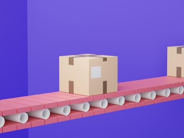 3d-darstellung von braunen kartons paketverpackung für express-transportservice