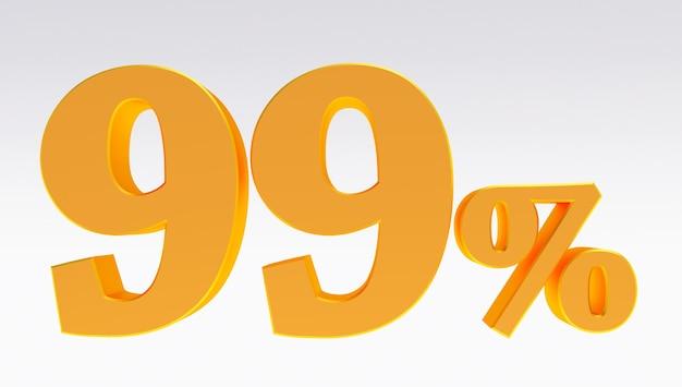 3d-darstellung von einem gold 99 prozent isoliert auf weißem hintergrund, golden neunundneunzig prozent