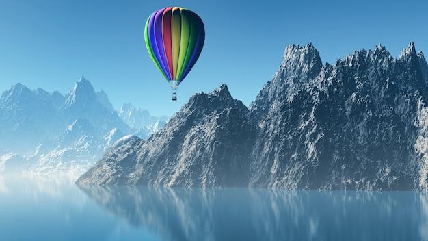 3d-darstellung von einem heißluftballon über hohe berge schwimmend