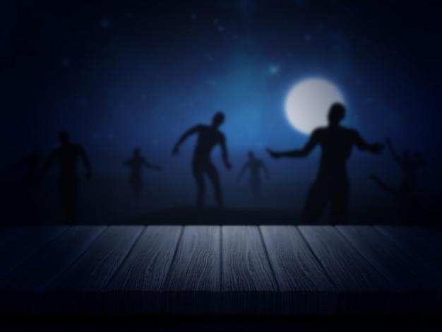 3d-darstellung von einem holztisch auf einem gespenstischen halloween zombie-landschaft mit blick