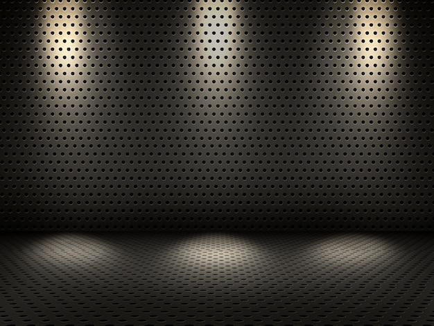 3d-darstellung von einem metallischen innenraum mit scheinwerfern