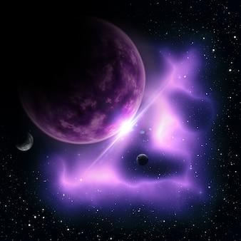 3d-darstellung von einer abstrakten raum-szene mit fiktiven planeten