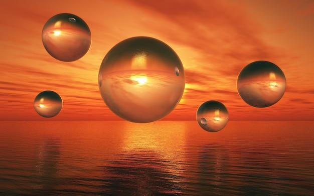 3d-darstellung von einer surrealen landschaft mit glaskugeln über ein sonnenuntergang meer schweben