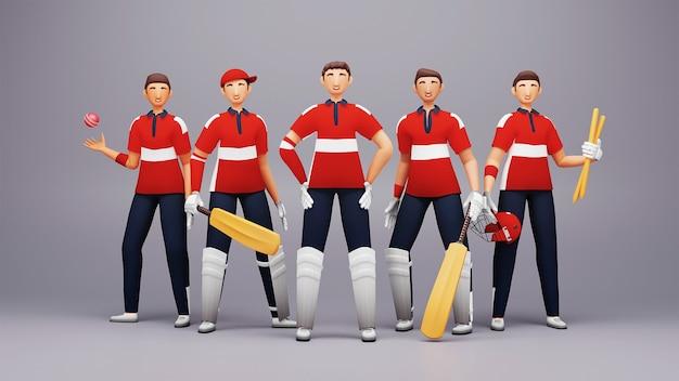 3d-darstellung von england cricket teamplayer mit turnierausrüstung auf glänzendem grauem hintergrund.