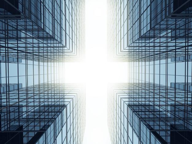 3d-darstellung von futuristischer architektur, wolkenkratzergebäude mit glasfenster.