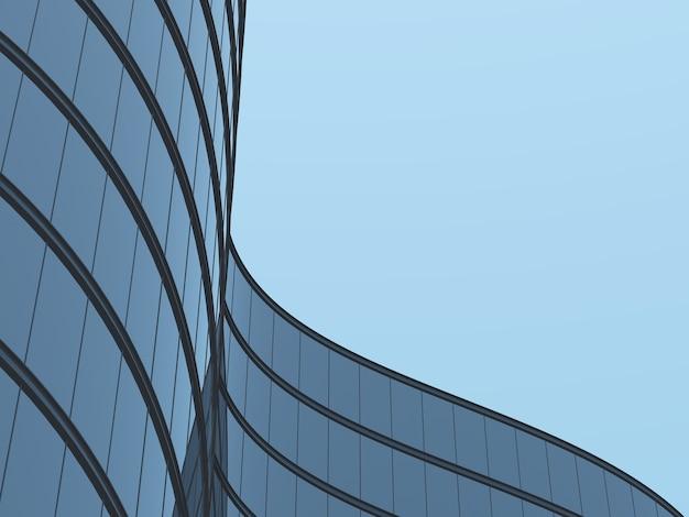 3d-darstellung von futuristischer architektur, wolkenkratzergebäude mit kurvenglasfenster.