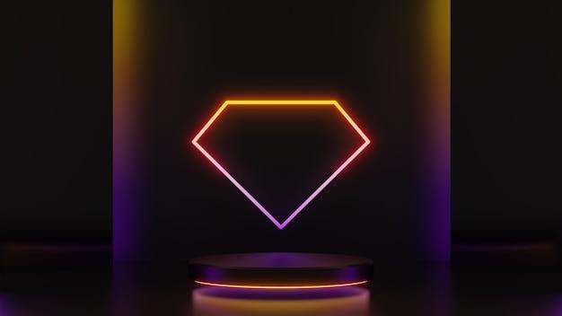 3d-darstellung von gelb leuchtender rautenform und sockelstufen einzeln auf dunklem hintergrund, abstraktes minimales konzept, leerraum, einfaches, sauberes design