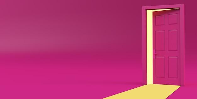 3d-darstellung von gelbem licht, das durch die offene tür geht, isoliert auf rosafarbenem hintergrund.