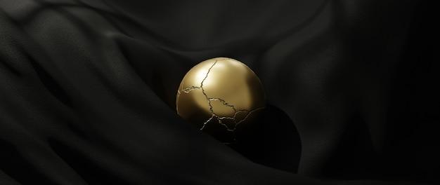 3d-darstellung von goldball und schwarzem stoff. abstrakte kunst mode hintergrund.