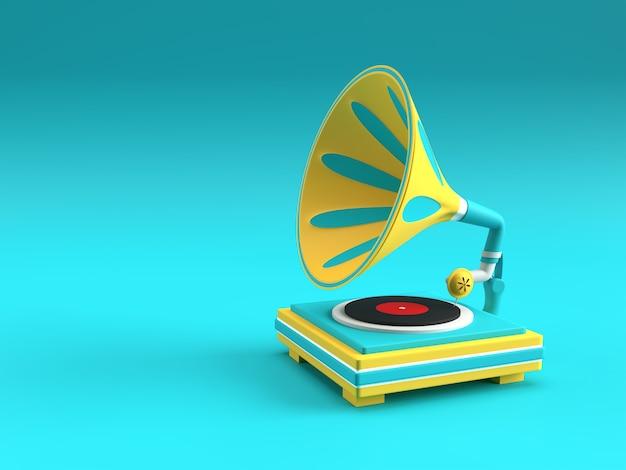 3d-darstellung von grammophon auf farbigem hintergrund