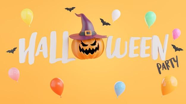 3d-darstellung von happy halloween-symbol mit halloween-konzept.