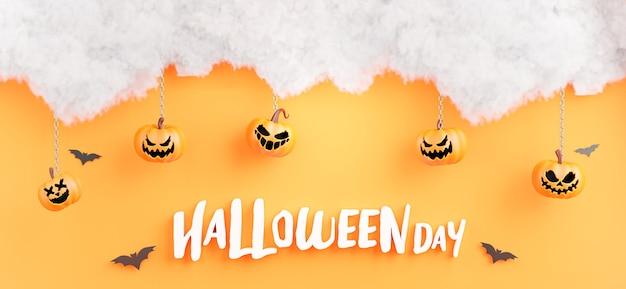 3d-darstellung von happy halloween-tag mit wolke, kürbis, fledermaus auf orangem hintergrund.