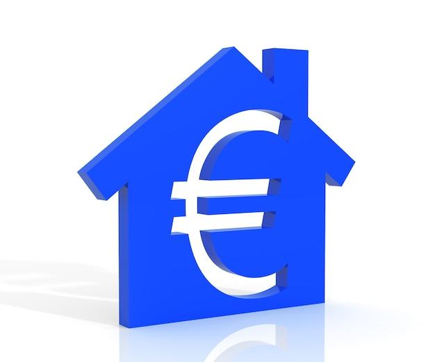 3d-darstellung von haus und euro-symbol auf weißem hintergrund