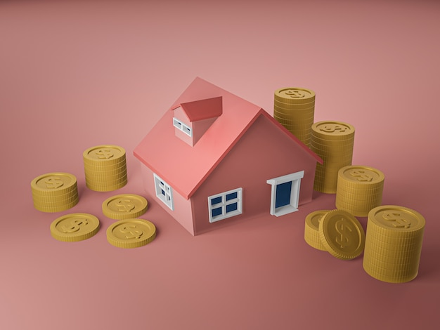 3d-darstellung von haus und goldener münze auf rosa boden