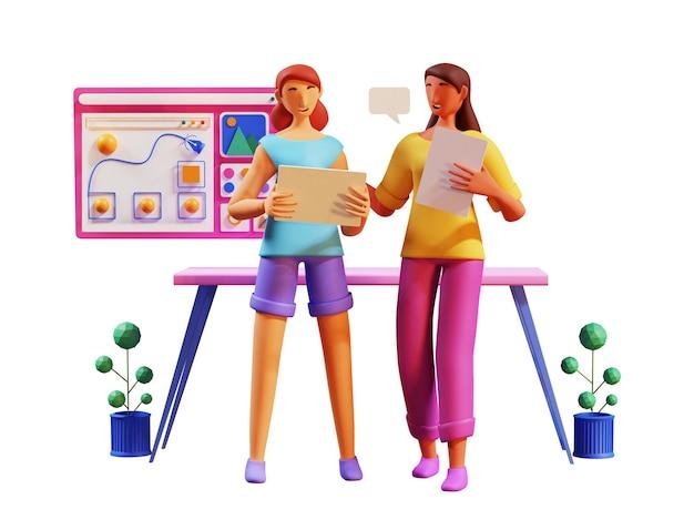 3d-darstellung von jungen frauen, die mit infografik-website am arbeitsplatz zusammenarbeiten.