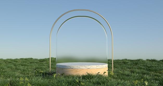 3d-darstellung von marmor-podium und gras