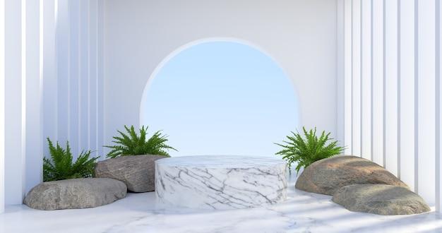 3d-darstellung von marmor-podium und pflanze