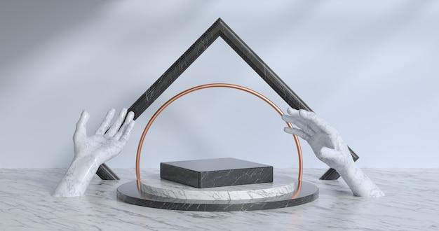 3d-darstellung von marmor-podium.