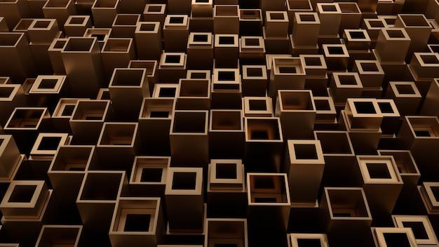 3d-darstellung von metallformen mit zufälliger höhe. metallische formprimitive bilden industriellen abstrakten hintergrund.