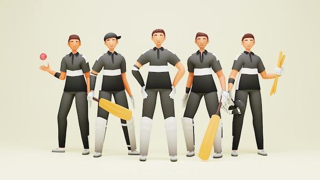 3d-darstellung von new zealand cricket team player mit turnierausrüstung auf gelbem hintergrund.