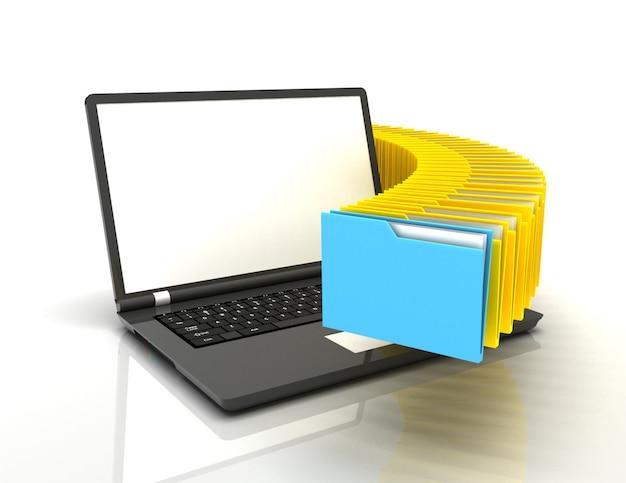 3d-darstellung von ordnern mit laptop.informationskonzept