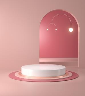 3d-darstellung von podium und abstrakter geometrischer.
