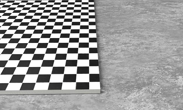 3d-darstellung von quadratischen pflastersteinen aus grauem steinbeton