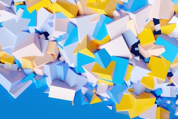 3d-darstellung von reihen von gelben, blauen und weißen quadraten. satz würfel auf monochromhintergrund, muster. geometrie-hintergrund