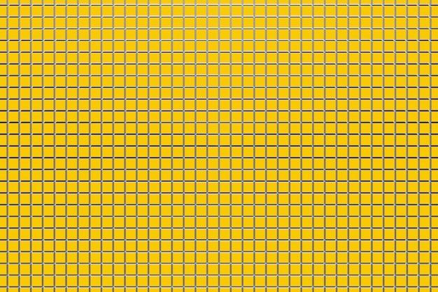 3d-darstellung von reihen von streifen, die zellen flankieren. satz von maschen auf gelbem hintergrund. quadratisches muster. hintergrund der technologiegeometrie