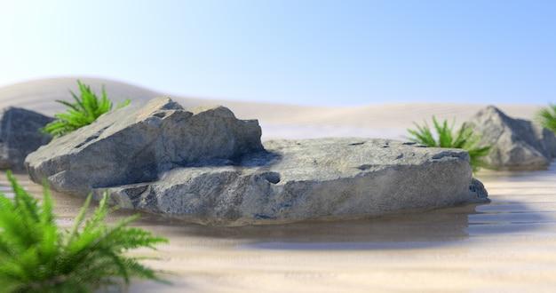 3d-darstellung von rock podium und pflanze