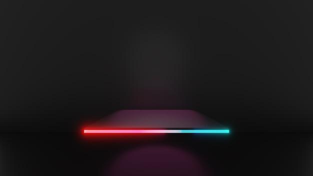 3d-darstellung von rosa blauem licht quadratischen sockelstufen einzeln auf dunklem hintergrund, abstraktes minimales konzept, leerraum, einfaches, sauberes design