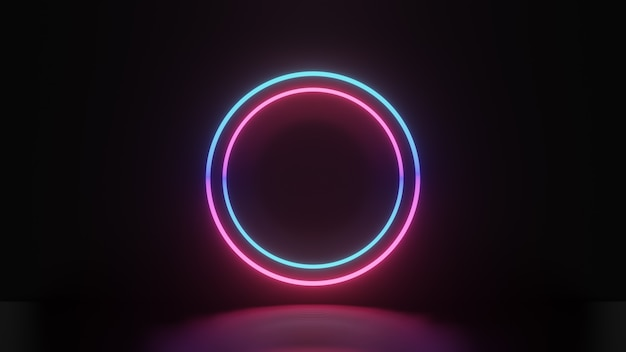 3d-darstellung von rosa blauem lichtkreis und reflexion auf dunklem hintergrund, abstraktes minimales konzept, leerraum, einfaches, sauberes design