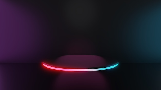 3d-darstellung von rosa blauen lichtsockelstufen auf dunklem hintergrund, abstraktes minimales konzept, leerraum, einfaches, sauberes design