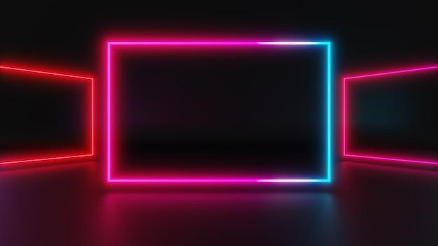 3d-darstellung von rosa lichtrahmen auf dunklem hintergrund, abstraktes minimales konzept, leerraum, einfaches, sauberes design