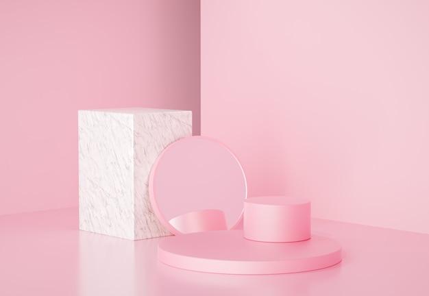3d-darstellung von rosa ständern mit spiegel und marmorwürfel