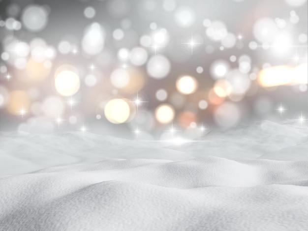 3d-darstellung von schnee machen vor dem hintergrund bokeh lichter