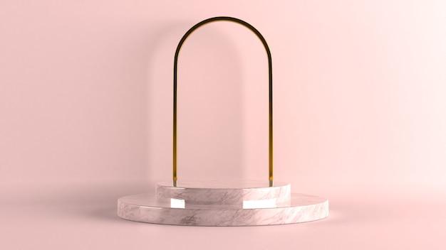 3d-darstellung von schwarz-weißen marmorsockelstufen einzeln auf pastellfarbenem hintergrund, goldener ring, runder rahmen, minimales konzept, leerraum, einfaches, sauberes design, luxuriöses minimalistisches modell.