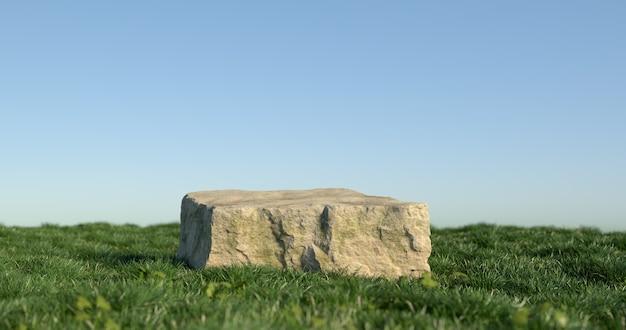 3d-darstellung von steinpodest und gras